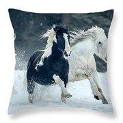 Snowy Run Throw Pillow