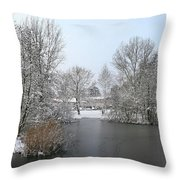Snowy Scenery Round Canals Throw Pillow