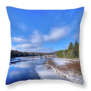 Snowy Shore Of The Moose River Throw Pillow