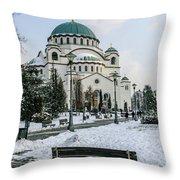 Snowy St. Sava Temple In Belgrade Throw Pillow