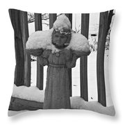 Snowy Statue Throw Pillow