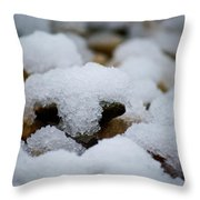 Snowy Stones Throw Pillow