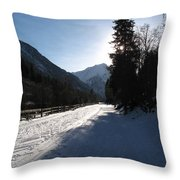 Snowy Track Throw Pillow