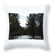 Snowy Trail Throw Pillow
