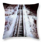 Snowy Train Tracks Throw Pillow