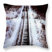 Snowy Train Tracks Throw Pillow