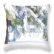 Snowy Trees In Winter Landscape  Throw Pillow