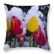 Snowy Tulips Throw Pillow