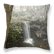 Snowy Waterfall Throw Pillow