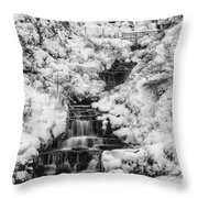 Snowy Waterfall In The Peak District In Derbyshire Throw Pillow