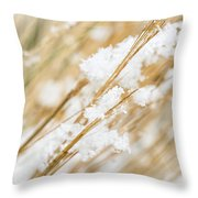 Snowy Weed Throw Pillow