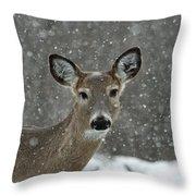 Snowy Winter Deer Throw Pillow