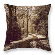 Snowy Woodland Walk One Throw Pillow