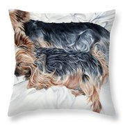 Snuggling Yorkies Throw Pillow