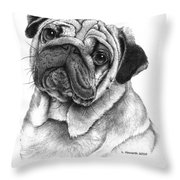 Snuggly Puggly Throw Pillow