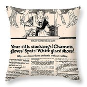 Your Silk Stockings Vintage Soap Ad Throw Pillow