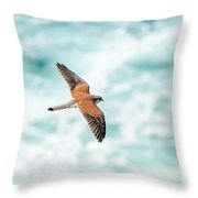 Soaring Above The Churning Sea Throw Pillow