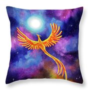 Soaring Firebird In A Cosmic Sky Throw Pillow