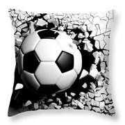Soccer Ball Breaking Forcibly Through A White Wall. 3d Illustration. Throw Pillow