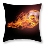 Soccer Ball With Fire Throw Pillow