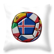 Soccer Ball With Flag Of Iceland In The Center Throw Pillow