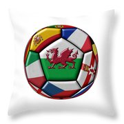 Soccer Ball With Flag Of Wales In The Center Throw Pillow