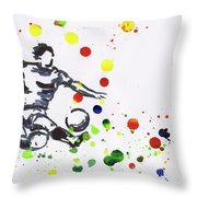 Soccer Player In Action Throw Pillow