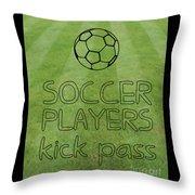 Soccer Players Kick Pass Poster Throw Pillow