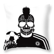 Soccer Skull Icon Background With Sunglasses And Ball. Throw Pillow