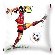Soccer Striker Throw Pillow