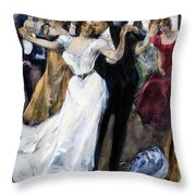 Society Ball, C1900 Throw Pillow