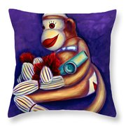 Sock Monkey With Kazoo Throw Pillow