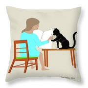 Socks Reads Sunday Paper Throw Pillow
