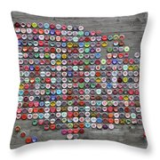 Soda Pop Bottle Cap Map Of The United States Of America Throw Pillow