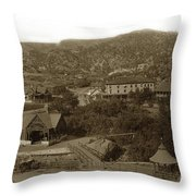 Soda Springs And Cliff House In Manitou, Colorado Throw Pillow