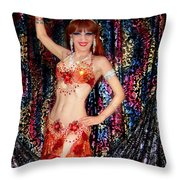 Sofia Metal Queen - Belly Dancer Model At Ameynra Throw Pillow
