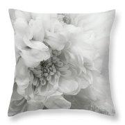 Soft Dahlia White Throw Pillow