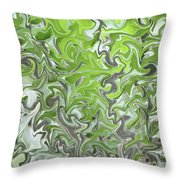 Soft Green And Gray Abstract Throw Pillow