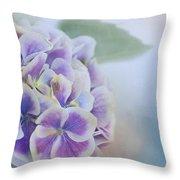Soft Hydrangeas On Blue Throw Pillow