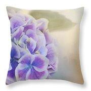 Soft Hydrangeas On Peach Throw Pillow