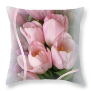 Soft Pink Tulips Throw Pillow