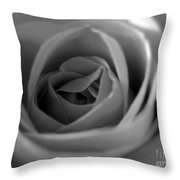 Soft Rose In Black And White Throw Pillow
