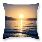 Soft Sunset Lake Throw Pillow