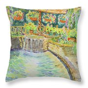 Soft Waterfall In The Pool Of Gibbs Gardens Throw Pillow