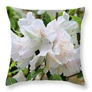 Soft White Azaleas Throw Pillow