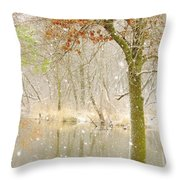 Softly Falls The Snow Throw Pillow by Lori Frisch