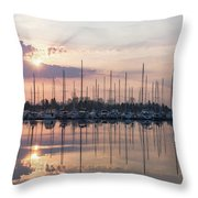 Softly - God Rays And Yachts In Rose Gold And Amethyst  Throw Pillow
