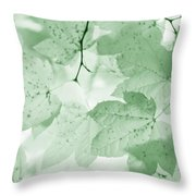 Softness Of Green Leaves Throw Pillow