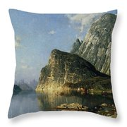Sogne Fjord Norway  Throw Pillow