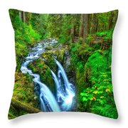 Sol Duc Falls Throw Pillow